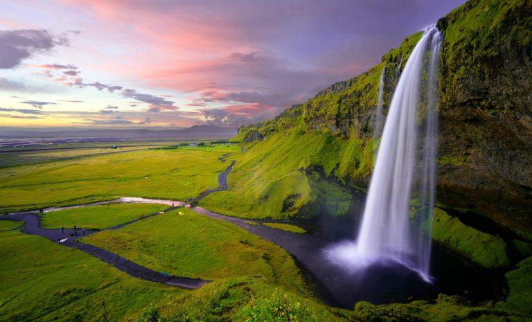 Icelandic waterfall at sunset