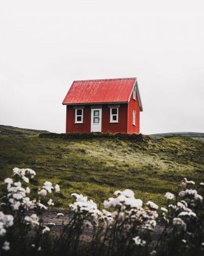 Lone red hut